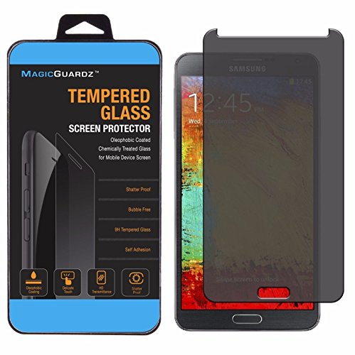 MAGICGUARDZ, Made for Samsung Galaxy Note 3, Privacy Anti-Spy Tempered Glass Screen Protector Shield, Retail Box