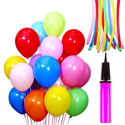 Auped luchtballonnen set, bevat 100 roze ballonnen (parelmoer + lichtroze + donkerroze), 1 ballonpomp, 100 stuks lijm, 100 meter lichtroze banden