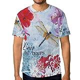 MONTOJ - Camiseta de manga corta para hombre, estilo europeo, diseño de libélula floral 1 L