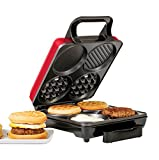 Holstein Housewares HU-09008R-M 3-in-1 Breakfast Station - Waffle, Egg, and Sausage Maker, Metallic Red