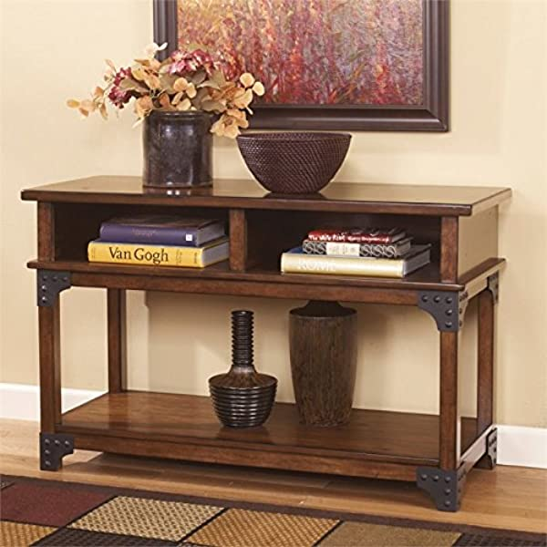 BOWERY HILL Console Console Table In Medium Brown