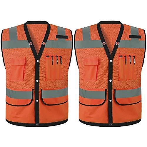 Yunding Chaleco ejecutivo de seguridad reflectante de alta visibilidad,con múltiples bolsillos,perfecto para correr de noche,control de tráfico, construcción, ciclismo, andar en motocicleta,etc (paque