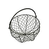 CVHOMEDECO. Ronda de alambre de metal cesta de huevos – Cesta de reunión con asa país estilo Vintage de almacenamiento cesta. oxidado, Dia.20.3 x H12.1 cm