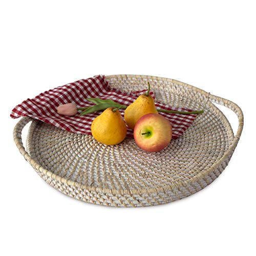 Large 18' Round Wicker Serving Trays and Platters with Handles | Handcrafted Breakfast, Food, Dish, Coffee, Bread Serving Baskets for Home and Restaurants (Whitewash)