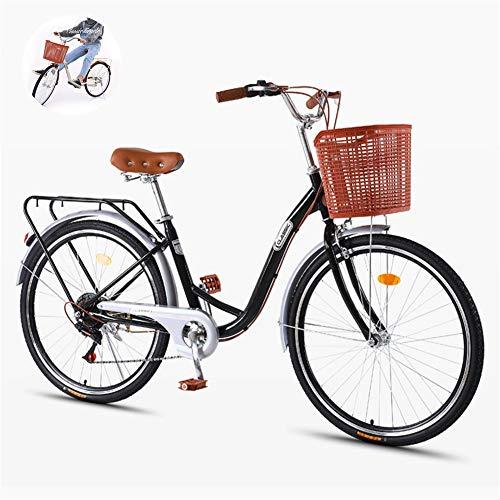 GOLDGOD Erwachsene Cruiser Fahrrad, 7-Gang Retro Classic Beach Urban Bike Freizeit Damen- Und Herrenfahrrad Mit Frontkorb Komfortables Pendlerfahrrad Aus Kohlenstoffstahl,Schwarz,24inch