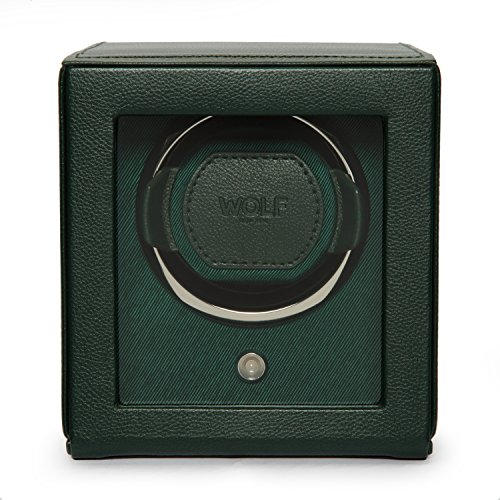WOLF Unisex 461141 Wolf Cub Single Green Analog Display Watch Winder with Cover