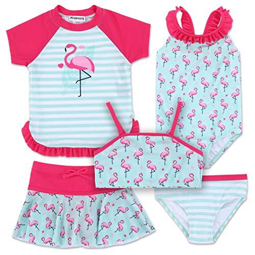 Toddler Girl Flamingo 5 Piece Mix and Match Swimsuit Set 6X