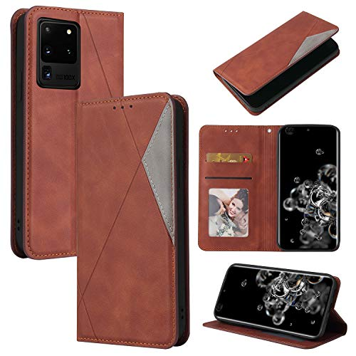 LODROC Galaxy S20 Ultra Hülle, TPU Lederhülle Magnetische Schutzhülle [Kartenfach] [Standfunktion], Stoßfeste Tasche Kompatibel für Samsung Galaxy S20 Ultra - LOYKB0500273 Braun