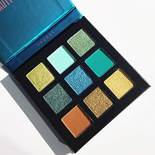 Pressed Eyeshadow Palette,ROMANTIC BEAR Kit de mini fard à paupières professionnel de palette de maquillage métallisé scintillant de 9 couleurs (Vert)