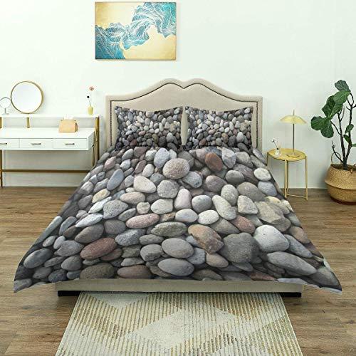 Yaoni Funda nórdica, diseño de Piedras de Grava con Cama de río, diseño de Roca Natural, Juego de Cama, cómodo y Ligero Microfibra