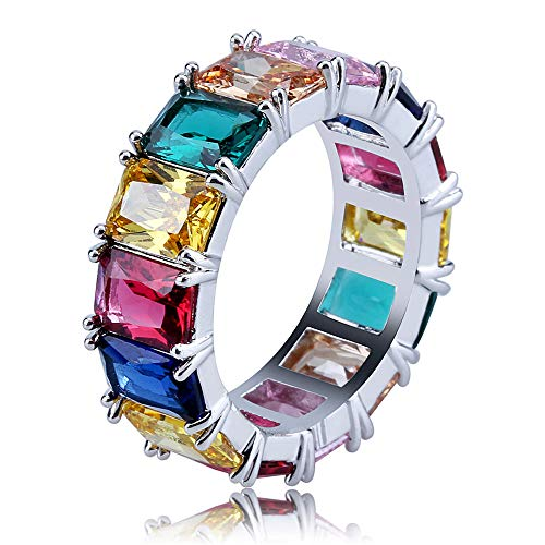 JunMei Hombres Iced out Rainbow Square Baguette CZ Hip Hop Anillo para Mujer Colorido Cubic Zirconia Bling Ring