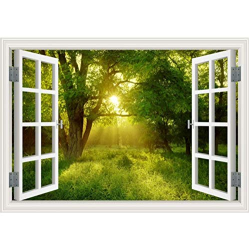 Mddjj Amazing Forest Tree 3D-muursticker, afneembaar, Window View landschap, fotobehang, muurschildering, muurschildering, muurschildering, voor kinderen, thuisbioscoop, 60 x 90 cm