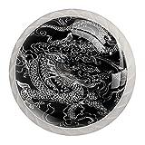 Perillas del gabinete 4pcs Tiradores vidrio cristal,Dragón chino tatuaje negro ,para puerta mueble abierta o cajón
