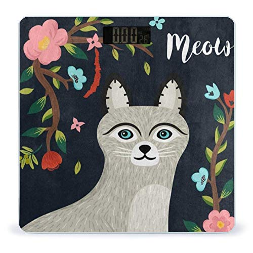 OcuteO Bathroom Scale Cute Cat Meow Floral Print Scales for Body Weight Smart Digital Weighing Scale for Women Men Kids Girl Boys Youth Included Tape Measure for Body Measuring