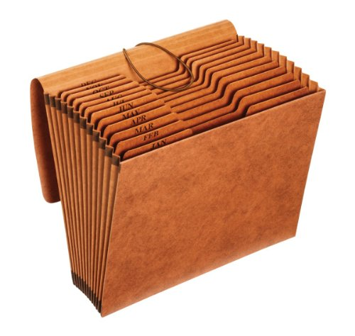 Globe Weis/Pendaflex Heavy Duty Expanding File with Flap, 12 Monthly Pockets, 1/3 Cut Tabs, Brown, Letter Size (R117MLHD)