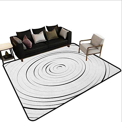 MsShe Vierkant tapijt Spieren, Minimalistische Spiraal Vorm Gestippelde Monochroom met Swirling Twisting Helix Form Design, Zwart Wit