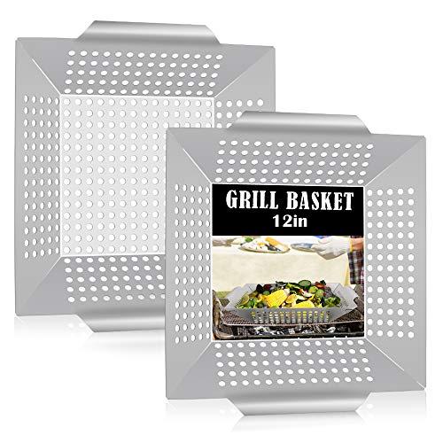Grill Basket Set of 2, HaSteeL Large BBQ Grilling Basket...