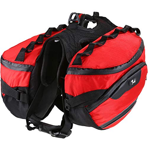PETTOM Dog Backpack Saddle Bag Adjustable Pack Reflective Rucksack Carrier for Traveling Walking Camping Hiking (M, Red)