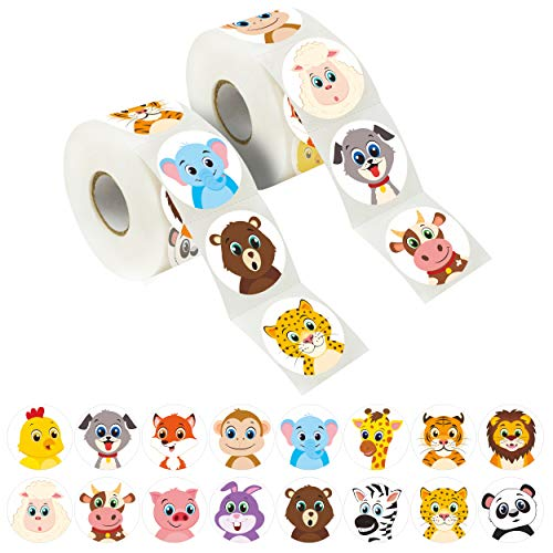 600 Adorable Round Land Animal Stickers in 16 Designs with Perforated Line Expanded Version (Each Measures 1.5