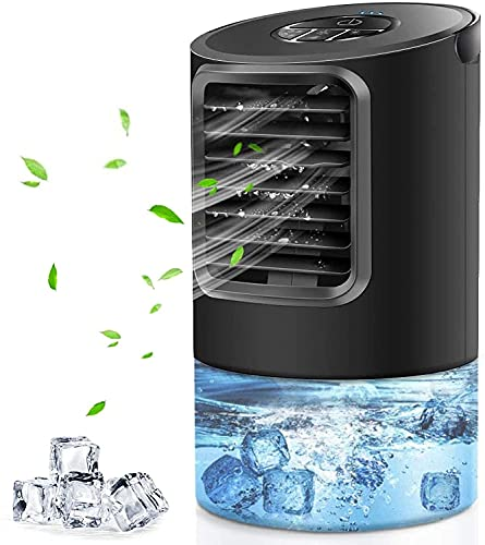 AIMIUVEI Climatiseur Portable Silencieux, 4 en 1 Ventilateur Mobile,3 Vitesses Refroidisseur d'air, 400ml Humidificateur, Veilleuse LED, pour Bureau Maison
