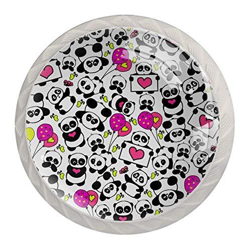 TIZORAX Schubladenknöpfe mit Panda-Motiv und Ballonherzen, Kristallglas, 30 mm, für Küchenschrank, Kommode, Heimdekoration, 4 Stück