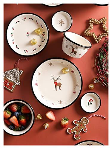 JSJJAUA Plato de Cena 1 PC Cena de Navidad Placa de Cerámica Vajilla Ensalada Ensalada Cuenca Cocina Platos y Placas Conjuntos Vajeros Utensilios para Cocina (Color : 5.3 Inch Bowl)