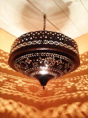 Orientalische Lampe Pendelleuchte Rostoptik Ashya E27 Lampenfassung   Marokkanische Design Hängeleuchte Leuchte aus Marokko   Orient Lampen für Wohnzimmer, Küche oder Hängend über den Esstisch