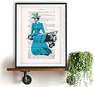 Weird Vintage Flying Lady with Teacup Printed on Real Vintage Paper from Around 1900 Annes folles Moulin Rouge Paris Folie Bergres