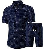 LAMLICKA Men's 2 Piece Tracksuit Floral Casual Short Sleeve Hawaiian Shirt Button Down Shorts Suit Navy M