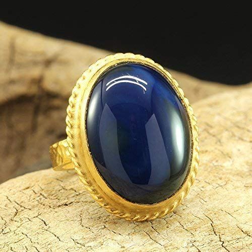 Natural Agate Ring 925 Sterling Silver 24K Gold Vermeil Handcrafted Hammered Designer Roman Art Cabochon Gemstone Large Right Hand Ring