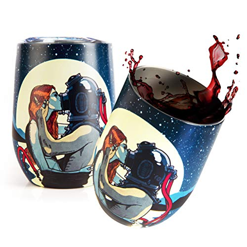 KYKYOTO KISS - Vaso térmico de acero inoxidable para café o vino (320 ml, doble pared con tapa, sin BPA, acero inoxidable 18/8)
