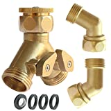 PLG Heavy Duty Brass 2 Way Hose Splitter, Shut-Off Valve and Hose Elbow Connector Kit