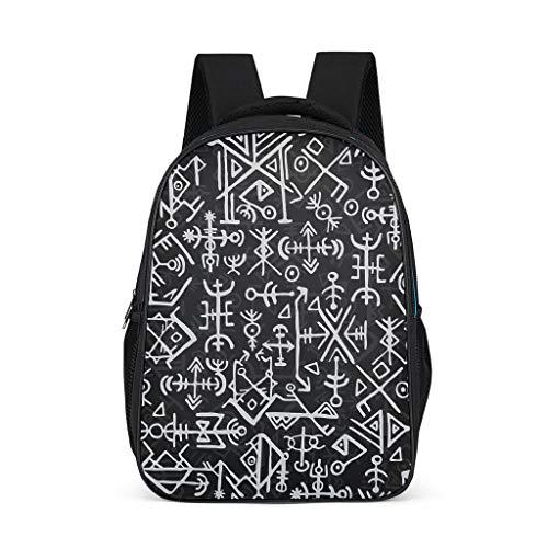 Schulrucksack Wikinger Odin Runen Schultasche Schulranzen Daypack Rucksack Backpack Kinderrucksack Freizeitrucksack für Jungen Mädchen Grey OneSize