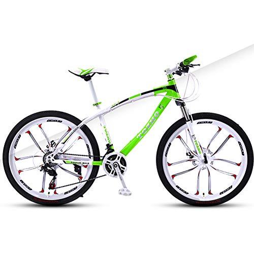 AP.DISHU 27 Velocidades Todo Terreno Bicicleta De Montaña Rueda De 30 Pulgadas Unisexo Bicicleta Marco De Acero De Alto Carbono Doble Disco De Freno MTB,Verde