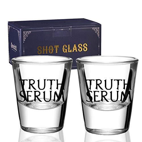 Juego de 2 vasos de chupito, regalos divertidos para beber para hombres, mujeres, verdad, vaso de chupito de base pesada, 1.5 oz, Onebttl