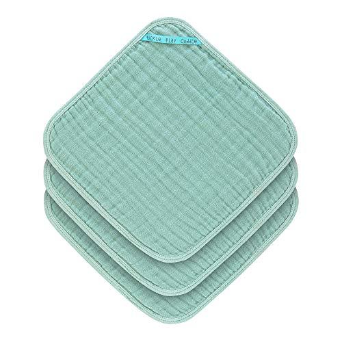 LÄSSIG Muslin Waschlappen Baumwolle 3er Set/Wash Cloth mint