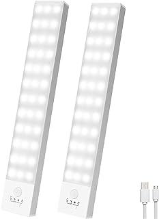 Luz Led Armario Magnética 36 LED,4 modos Luz Armario con Sensor de Movimiento,Luces LED Armario USB Recargable,800mA Luz A...