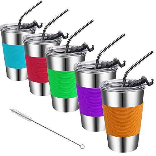 Kids Cups with Lids and Straws,16oz Spill Proof Kids Tumbler with Straw,18/8 Steel Unbreakable Kids Drinking Glasses with Lid,Stainless Steel Toddler Sippy Cups with Lid for Kids,Adults