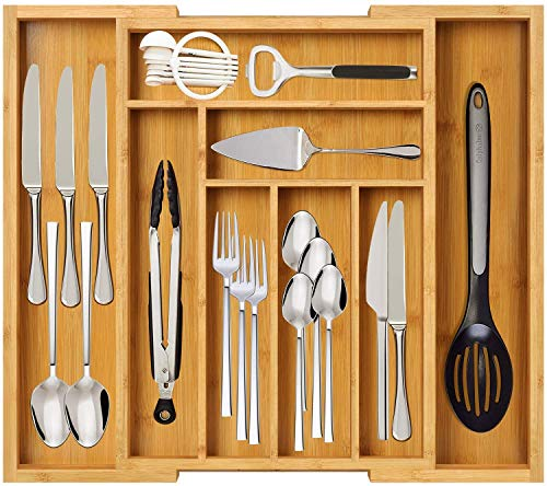 Furninxs Expandable Kitchen Drawer Organizer With Bamboo Silverware Tray for Utensils