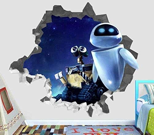 TJJF Wandtattoo 3D-Look Wandaufkleber Xxxx Wall-E 2 Eve 3D Wandtattoo Smashed Decorative Vinyl Decal Smash Film