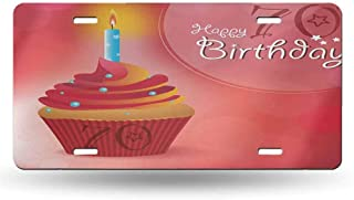 dsdsgog Front Cover for Cars 70th Birthday,Abstract Sun Beams Inspired Backdrop with Surprise Party Cupcake Image,Red and Orange 12x6 inches,Covers for Vehicles