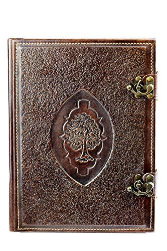 Atelier Bebek - Libro de visitas de Piel auténtica, 33,5 x 25,0 x 2,5 cm, 300 páginas en Blanco, Personalizable