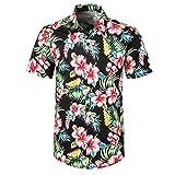 YEBIRAL Polos Manga Corta Hombre Manga Corta Básico Polo con Botones Camisa Hawaiana Hombre Camiseta Fruta Floral...