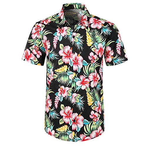 YEBIRAL Polos Manga Corta Hombre Manga Corta Básico Polo con Botones Camisa Hawaiana Hombre Camiseta Fruta Floral Estampado Formales Tops (L