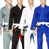 Athllete Jiu Jitsu GI Suitable for Jiu Jitsu/BJJ/Jiujitsu/Judo/Brazilian BJJ, with Preshrunk Fabric for Men & Kids (A2, Blue)