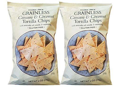 Trader Joe's Grainless Gluten-Free Cassava & Coconut Tortilla Chips with Avocado Oil, Seeds, & Seasoning - 2 Bags (12 oz)