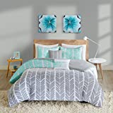 Intelligent Design Cozy Comforter Geometric Design Modern All Season Vibrant Color Bedding Set with Matching Sham, Decorative Pillow, Twin/TwinXL, Adel Aqua, 4 Piece