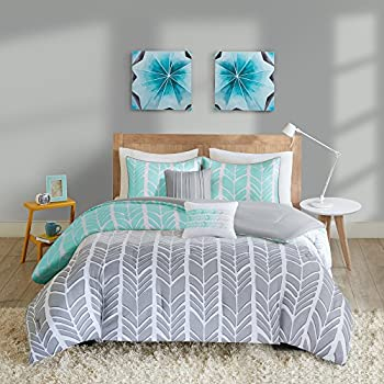 Intelligent Design Cozy Comforter Geometric Design Modern All Season Vibrant Color Bedding Set with Matching Sham Decorative Pillow Full/Queen Adel Aqua 5 Piece