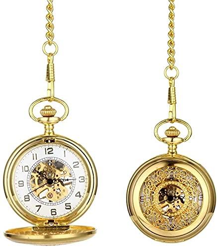 DNGDD Moda Vintage Unisex Reloj de Bolsillo aleación de Metal Relojes Huecos Rejilla Mano Viento Reloj mecánico Cadena Regalos
