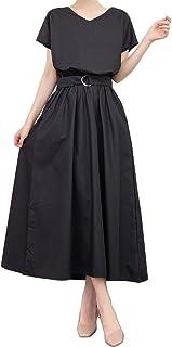 [セカンドルーツ] ワンピース 半袖 ロング丈 ゆるVネック ベルト付き マキシドレス M~XL